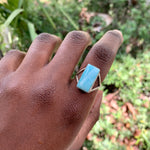 Rectangle Larimar Ring 027 (size 8.5)