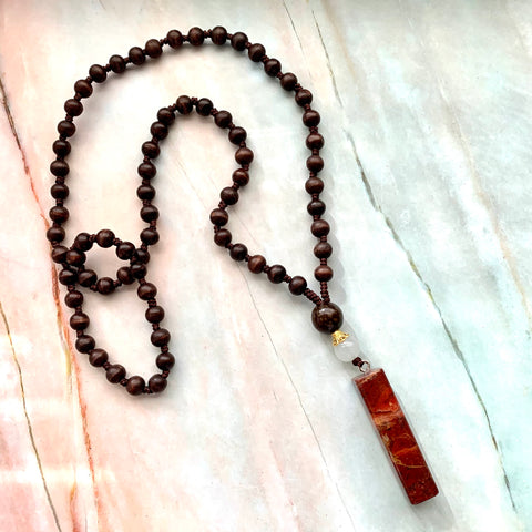 Red Jasper Wood Necklace