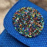 Blue Sisal Bead Purse