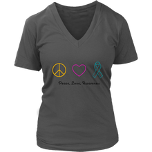 Load image into Gallery viewer, Peace, Love, Awareness- Women's V-Neck