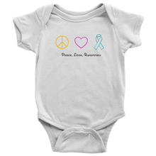 Load image into Gallery viewer, Peace, Love, Awareness- Baby Bodysuit