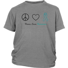 Load image into Gallery viewer, Peace, Love, Awareness - Teal Version - Youth Shirt
