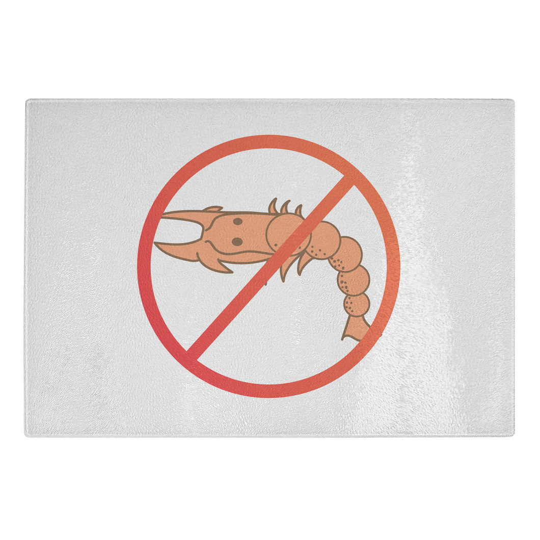 No Shellfish - Glass Cutting Board