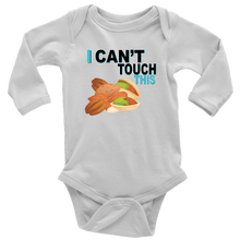 Load image into Gallery viewer, I Can't Touch This - Treenut Version - Long Sleeve Baby Bodysuit