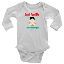 Load image into Gallery viewer, Don't Feed Me! Girl Version -  Long Sleeve Baby Bodysuit