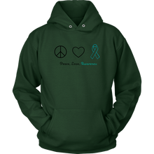 Load image into Gallery viewer, Peace, Love, Awareness - Teal Version - Unisex Hoodie