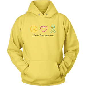Peace, Love, Awareness- Unisex Hoodie