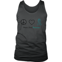 Load image into Gallery viewer, Peace, Love, Awareness - Teal Version - Men's Tank