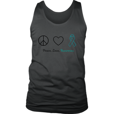 Peace, Love, Awareness - Teal Version - Men's Tank