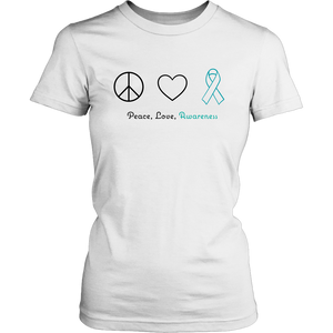 Peace, Love, Awareness - Teal Version - Women's Shirt