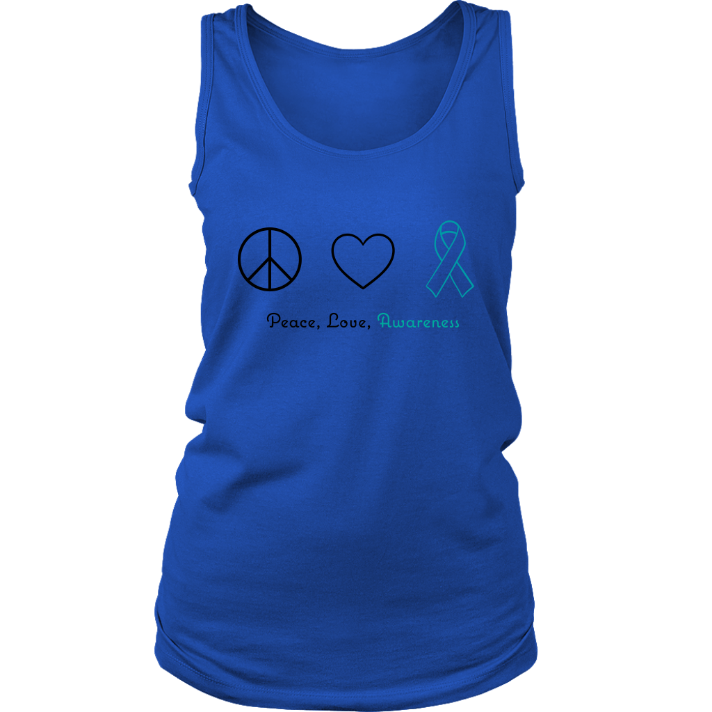 Peace, Love, Awareness - Teal Version - Women's Tank