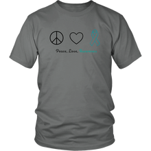 Load image into Gallery viewer, Peace, Love, Awareness - Teal Version - Unisex Shirt