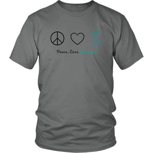 Peace, Love, Awareness - Teal Version - Unisex Shirt