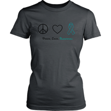 Load image into Gallery viewer, Peace, Love, Awareness - Teal Version - Women's Shirt