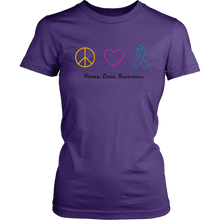 Load image into Gallery viewer, Peace, Love, Awareness- Women's Shirt