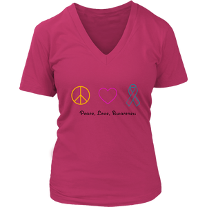 Peace, Love, Awareness- Women's V-Neck