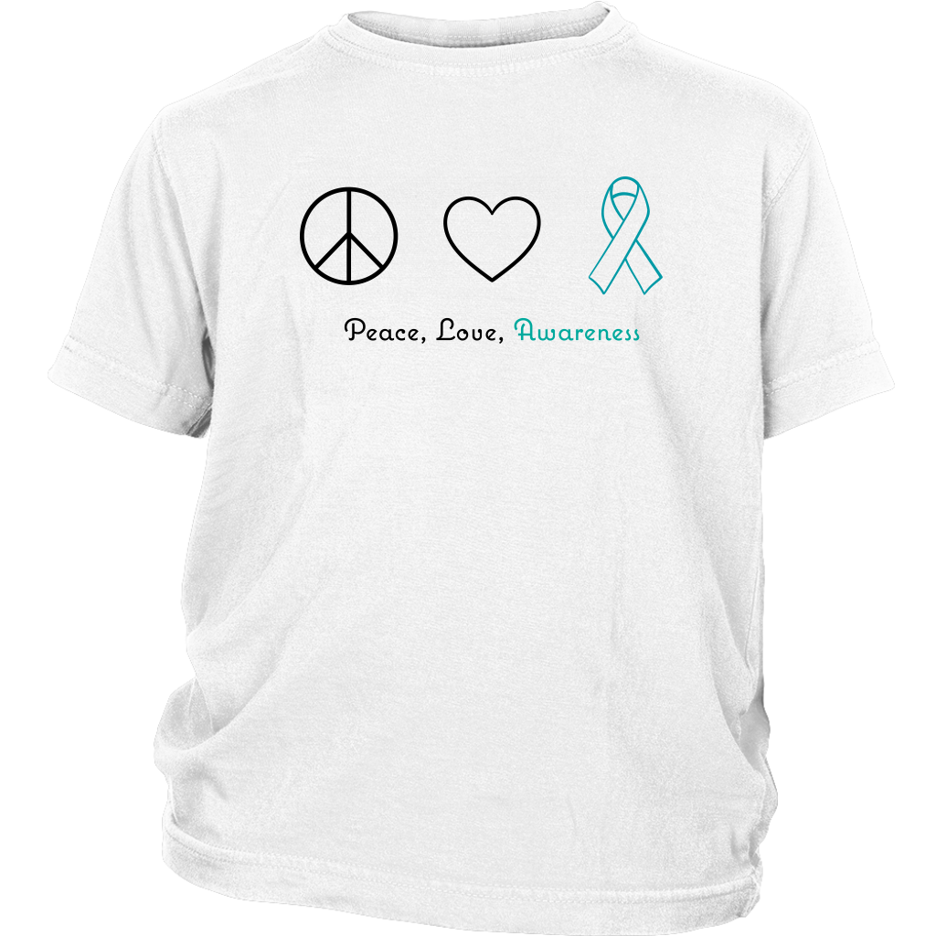 Peace, Love, Awareness - Teal Version - Youth Shirt