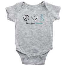 Load image into Gallery viewer, Peace, Love, Awareness - Teal Version - Baby Bodysuit