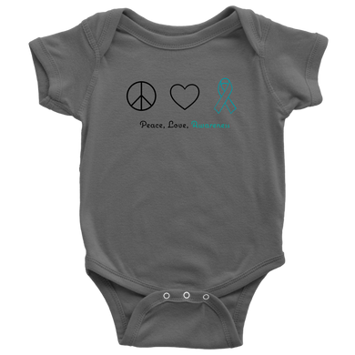 Peace, Love, Awareness - Teal Version - Baby Bodysuit