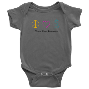 Peace, Love, Awareness- Baby Bodysuit