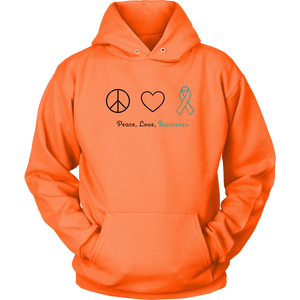 Peace, Love, Awareness - Teal Version - Unisex Hoodie