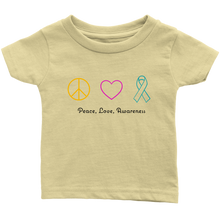 Load image into Gallery viewer, Peace, Love, Awareness- Infant T-Shirt