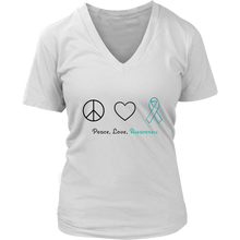 Load image into Gallery viewer, Peace, Love, Awareness - Teal Version - Women's V-Neck
