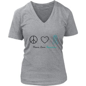 Peace, Love, Awareness - Teal Version - Women's V-Neck