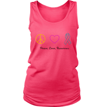 Load image into Gallery viewer, Peace, Love, Awareness- Women's Tank