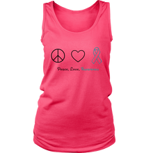 Load image into Gallery viewer, Peace, Love, Awareness - Teal Version - Women's Tank