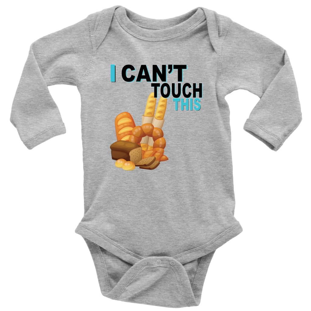 I Can't Touch This - Wheat Version - Long Sleeve Baby Bodysuit