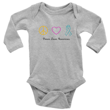 Load image into Gallery viewer, Peace, Love, Awareness- Long Sleeve Baby Bodysuit