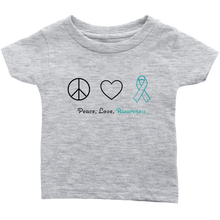 Load image into Gallery viewer, Peace, Love, Awareness - Teal Version - Infant T-Shirt