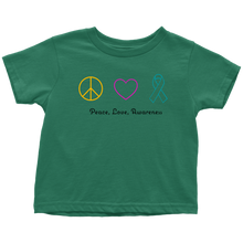 Load image into Gallery viewer, Peace, Love, Awareness- Toddler T-Shirt