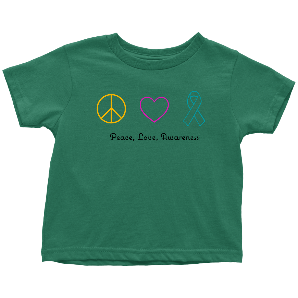 Peace, Love, Awareness- Toddler T-Shirt