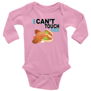 I Can't Touch This - Treenut Version - Long Sleeve Baby Bodysuit