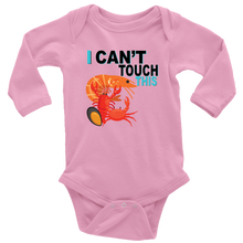 Load image into Gallery viewer, I Can't Touch This - Shellfish Version - Long Sleeve Baby Bodysuit