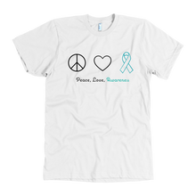 Load image into Gallery viewer, Peace, Love, Awareness - Teal Version - Men's Shirt