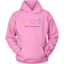 Load image into Gallery viewer, Peace, Love, Awareness- Unisex Hoodie