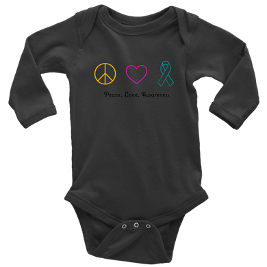 Peace, Love, Awareness- Long Sleeve Baby Bodysuit