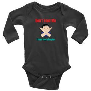 Don't Feed Me! Boy Version - Long Sleeve Baby Bodysuit
