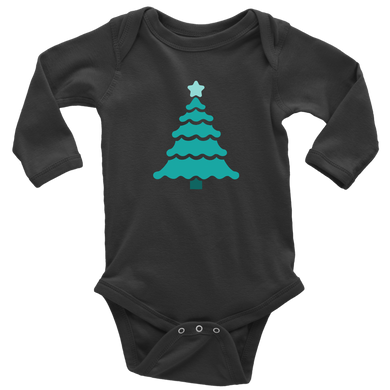 Teal Tree - Long Sleeve Baby Bodysuit
