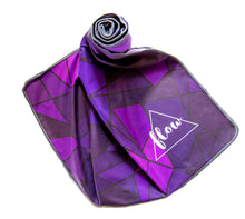 Load image into Gallery viewer, Flow Purple Geometric Yoga Towel