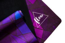 Load image into Gallery viewer, Flow Travel Suede Purple Geometric Yoga Mat