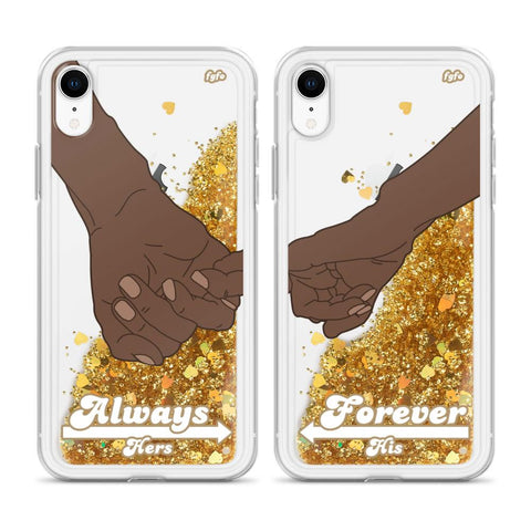 His/Hers iPhone Clear/Glitter Cases by For Grown Folks Only LLC