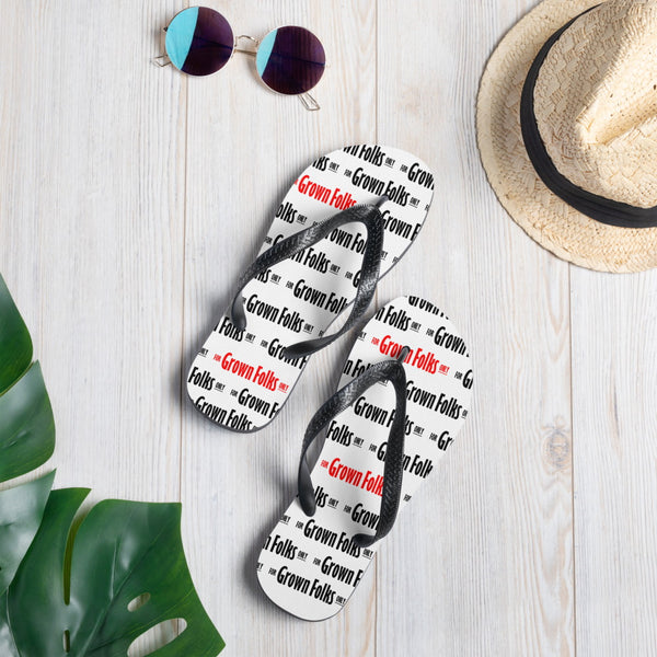 For Grown Folks Only (White) Flip-Flops