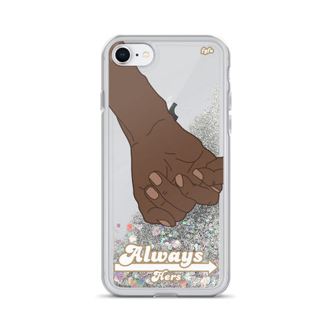 Brown Skin Couple Always Hers: iPhone 7/8/X/XS/XR Clear Liquid Glitter Case