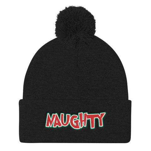 Naughty Christmas Pom Pom Cuffed Beanie - For Grown Folks Only Merch