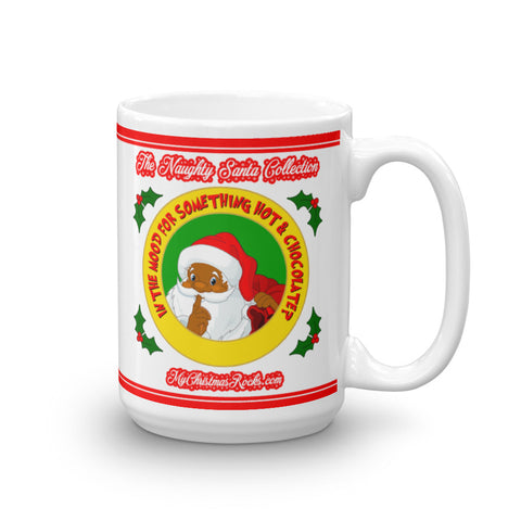Hot And Chocolate Naughty Black Santa Mug - For Grown Folks Only Merch
