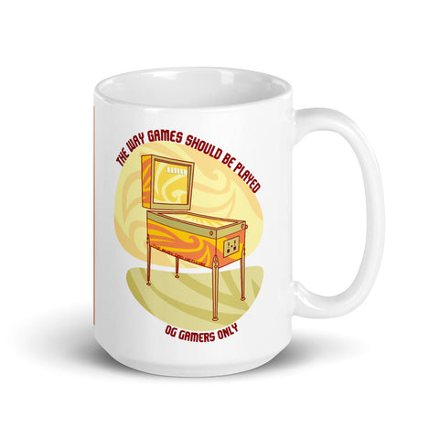 Retro Pinball Gamer 15oz Mug - For Grown Folks Only Merch